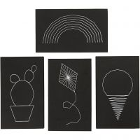 Platten für Fadenkunst, Größe 20x12 cm, Dicke 10 mm, Schwarz, 16 Stk/ 1 Pck
