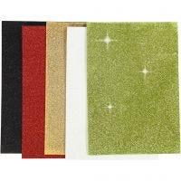 Moosgummi-Blätter, A5, 148x210 mm, Dicke 2 mm, Sortierte Farben, 5 Bl./ 1 Pck