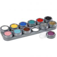 Grimas Gesichtsschminke auf Farbpalette, Sortierte Farben, 12x2,5 ml/ 1 Stk