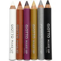 Schminkstifte, Sortiment, L: 9 cm, Zusätzliche Farben, 6 Stk/ 1 Pck