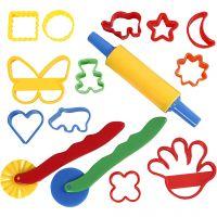 Ausstechförmchen und Werkzeug, Größe 3,5x3,5-7x9 cm, Sortierte Farben, 15 Stk/ 1 Pck