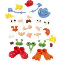 Körperteile, Größe 0,8-6,8 cm, Sortierte Farben, 26 Stk/ 1 Pck