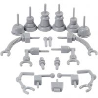 Roboterteile, Größe 0,5-6 cm, Grau, 19 Stk/ 1 Pck