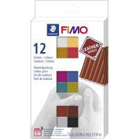 FIMO® Leder-Effekt, Sortierte Farben, 12x25 g/ 1 Pck