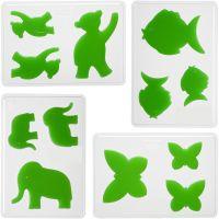 Dekorative Formen, Tiere, H: 6+8+10 cm, Tiefe 9 mm, Größe 14,9x22 cm, 4 Stk/ 1 Pck