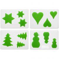Dekorative Formen, Weihnachen, H: 6+8+10 cm, Tiefe 9 mm, Größe 14,9x22 cm, 4 Stk/ 1 Pck