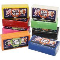 Soft Clay Knetmasse, Größe 13x6x4 cm, Sortierte Farben, 8x500 g/ 1 Pck