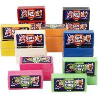 Soft Clay Knetmasse, Größe 13x6x4 cm, Sortierte Farben, 24x500 g/ 1 Pck