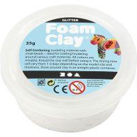 Foam Clay® , Glitter, Weiß, 35 g/ 1 Dose