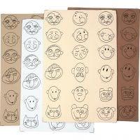 Gesichter aus Moosgummi, D: 30-40 mm, 72 sort./ 1 Pck