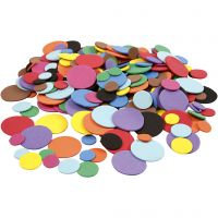 Moosgummikreise, D: 12+20+32 mm, Sortierte Farben, 300 sort./ 1 Pck