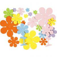 Moosgummi-Blumen, Größe 10-60 mm, Sortierte Farben, 100 sort./ 1 Pck