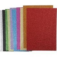 Moosgummi, A4, 210x297 mm, Dicke 2 mm, Glitter, Sortierte Farben, 10 Bl. sort./ 1 Pck