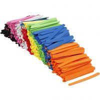 Moosgummi-Eisstiele, L: 11,5 cm, B: 1 cm, Dicke 2 mm, Sortierte Farben, 1000 Stk/ 1 Pck