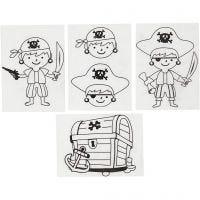 Plastik-Schrumpffolien mit Motiv, Piraten, 10,5x14,5 cm, Dicke 0,3 mm, Matt transparent, 4 Bl./ 1 Pck