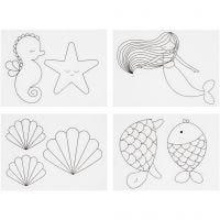 Plastik-Schrumpffolien mit Motiv, Meerjungfrau, 10,5x14,5 cm, Dicke 0,3 mm, Matt transparent, 4 Bl./ 1 Pck