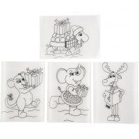 Plastik-Schrumpffolien mit Motiv, 10,5x14,5 cm, Matt transparent, 4 Bl./ 1 Pck