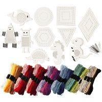Stickfiguren und -garn, Größe 8-17 cm, Sortierte Farben, 1 Set