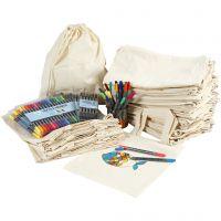 Henkel-Stofftaschen und Zugband-Stoffbeutel mit Filzstiften zum Bemalen, Größe 27,5x30 cm, Sortierte Farben, 1 Set