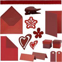 Happy Moments - Set zur Anfertigung von Karten, Rot, Weinrot, Rot/Weinrot, Weinrot/Rot, 160 Teile/ 1 Pck