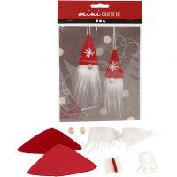 Mini-Kreativset, Weihnachtswichtel zum Aufhängen, H: 11 cm, 1 Set