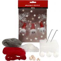 Mini-Kreativset, Weihnachtswichtel an einem Seil, H: 6 cm, 1 Set