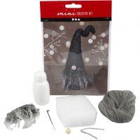 Mini-Kreativset, Weihnachtswichtel, H: 13 cm, Grau Melange, 1 Set