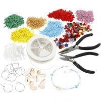 Sets für die Anfertigung von Schmuck mit Rocaille Seed Beads, Versilbert, 1 Set