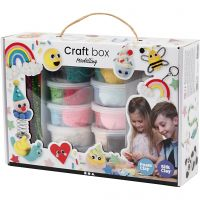 Modellier-Box mit Foam Clay® und Silk Clay®, Modellieren, Sortierte Farben, 1 Set