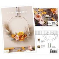 Produkt-Postkarte, Herbstkranz mit Krepppapier-Blüten, A5, 14,8x21 cm, 1 Stk