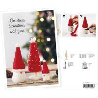 Produkt-Postkarte, Wichtel und Weihnachtsbaum aus Chunky-Wolle, A5, 14,8x21 cm, 1 Stk