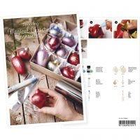 Produkt-Postkarte, Christbaumkugeln, gestaltet mit Art Metal-Farbe und Dekofolie, A5, 14,8x21 cm, 1 Stk