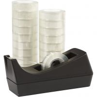 Tischabroller mit Klebeband, B: 15 mm, 1 Set