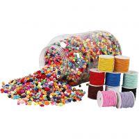 Kunststoffperlen im Eimer und elastisches Schmuckband, 1 Set