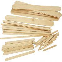 Holz-Eisstiele, L: 5,5+11,5+19+20 cm, B: 6+10+25 mm, 4250 Stk/ 1 Pck