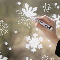 Schneeflockenfenster - Deko mit dem Kreidemarker