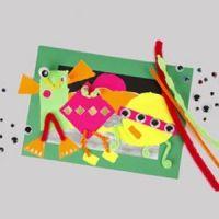 Ein Bild mit gerissenen Stücken aus Neonpapier