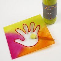 Glasplatte mit Hand