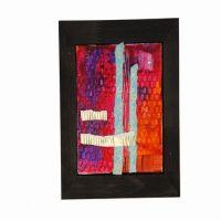 Collage mit Farbe, Luftpolsterfolie und Wellpappe