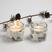 Weihnachtliche Teelichthalter mit Silk Clay