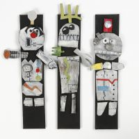Robots aus Liegematten-Moosgummi mit Glitter