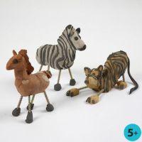 Wilde Tiere aus lufttrocknendem Ton und Schrauben