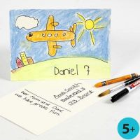Postkarten aus Aquarellpapier, bemalt mit Neocolor II und Markern