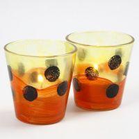 Teelichter, verziert Glasmalfarbe