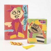 Ein neues Notizbuch mit Collage aus Color Bar Karton