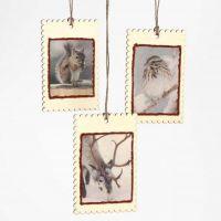 Kleine Holzhängeschildchen mit Decoupage-Papier