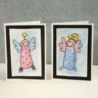 Weihnachtliche Grusskarte mit Engel in Aquarell