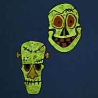 Fensterdeko: Leuchtende Masken aus transparenter Folie