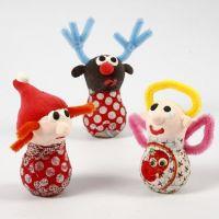 Weihnachtsfiguren aus Glühbirnen, Silk Clay und Chenille