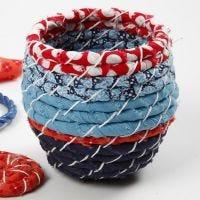 Korb aus Öko-Baumwollstoff hergestellt mit der Løbbinding-Methode